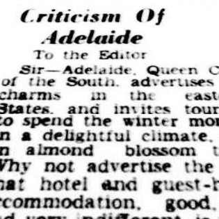 Criticism of Adelaide, 1951