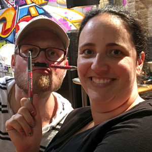 Danyelle Robson and Tom Williams with Adelaide Show Podcast pens