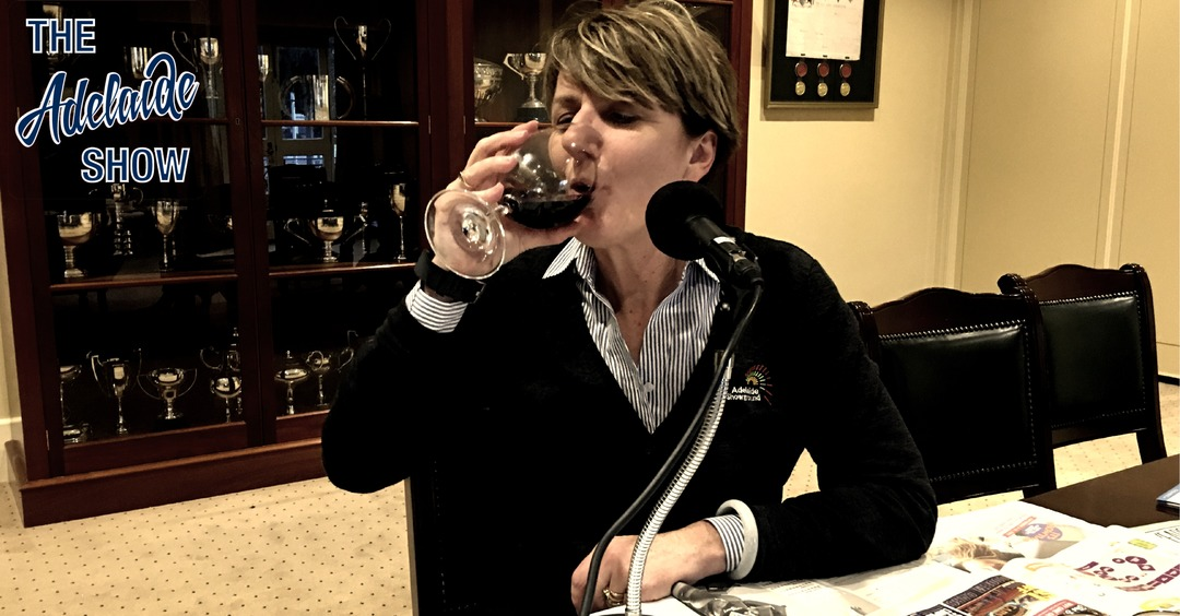 Michelle Hocking drinking red wine on The Adelaide Show Podcast 209